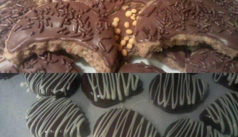 حلوى بالفول السوداني والشوكولاتة بشكلين