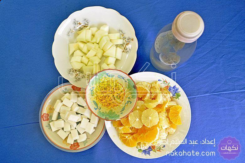 مكونات عصير البرتقال والبطيخ الأصفر