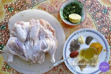 الدجاج ومكونات التتبيلة